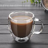 Чашки кофейные двойное дно набор 2 шт по 75 мл стеклянные с двойным дном комплект для кофе эспрессо