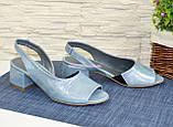 Босоножки женские замшевые на маленьком каблуке, фото 3