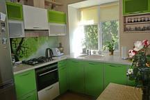 Кухня в нежно зеленом оттенке