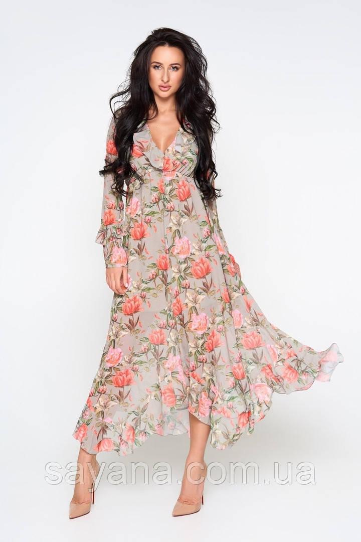 Женское платье с асимметричным низом в расцветках. А-6-0419