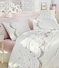 Комплект постельного белья сатин люкс c вышивкой евро Dantela Vita Embroidered  Lara krem