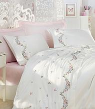 Комплект постільної білизни сатин люкс з вишивкою євро Dantela Vita Embroidered Lara krem