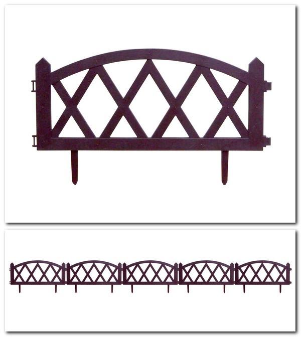 """Забор для газона пластиковый 5 секций коричневый """"Modern №4"""" (Беларусь)"""