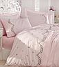 Комплект постельного белья сатин люкс c вышивкой евро Dantela Vita Embroidered  Lara pudra