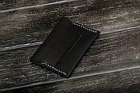 Женский мини-кошелек из натуральной кожи ручной работы, черный кошелек, визитница, кардхолдер. Чехол, фото 1