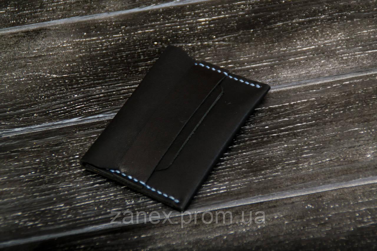 Женский мини-кошелек из натуральной кожи ручной работы, черный кошелек, визитница, кардхолдер. Чехол