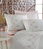 Комплект постельного белья сатин люкс c вышивкой евро Dantela Vita Embroidered  Lisa, фото 2