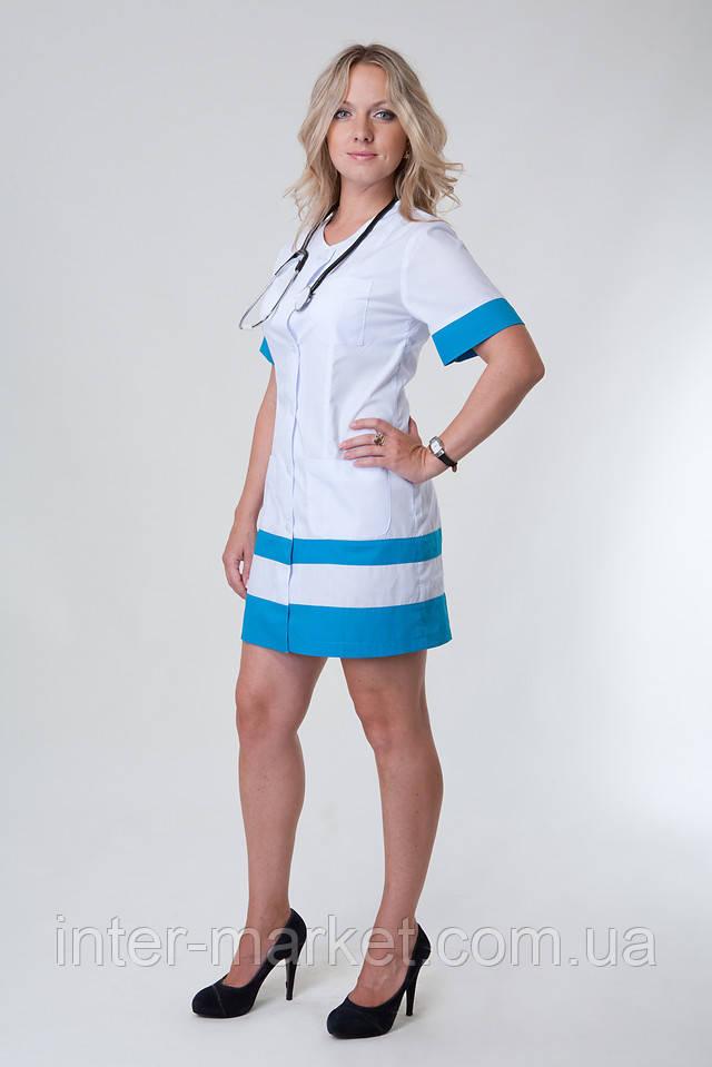 Женский медицинский халат белый (батист) с голубой вставкой