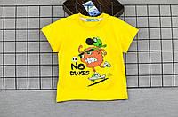 Футболка для мальчика детская, желтая с рисунком, хлопок, размер 86.