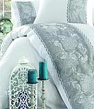 Комплект постельного белья сатин люкс c вышивкой евро Dantela Vita Embroidered  Akel beyaz-gri, фото 2