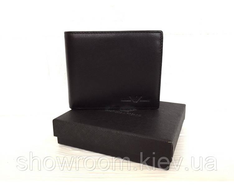 Мужское кожаное портмоне в стиле Giorgio Armani (04A) black, фото 1