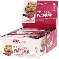 Optimum Nutrition, Протеиновые вафли, шоколадно-малиновый крем, 9 упаковок, по 1,45 унции (41 г) каждая