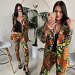 Женский стильный брючный костюм с принтами: пиджак и брюки (расцветки), фото 6