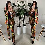 Женский стильный брючный костюм с принтами: пиджак и брюки (расцветки), фото 3