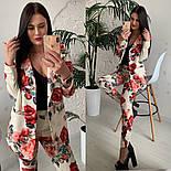 Женский стильный брючный костюм с принтами: пиджак и брюки (расцветки), фото 5