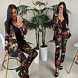 Женский стильный брючный костюм с принтами: пиджак и брюки (расцветки), фото 7