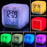 Часы хамелеон с Термометром Будильником датой ночник 7 цветов Разноцветные Электронные Большой Экран для дома, фото 7