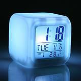 Часы хамелеон с Термометром Будильником датой ночник 7 цветов Разноцветные Электронные Большой Экран для дома, фото 4