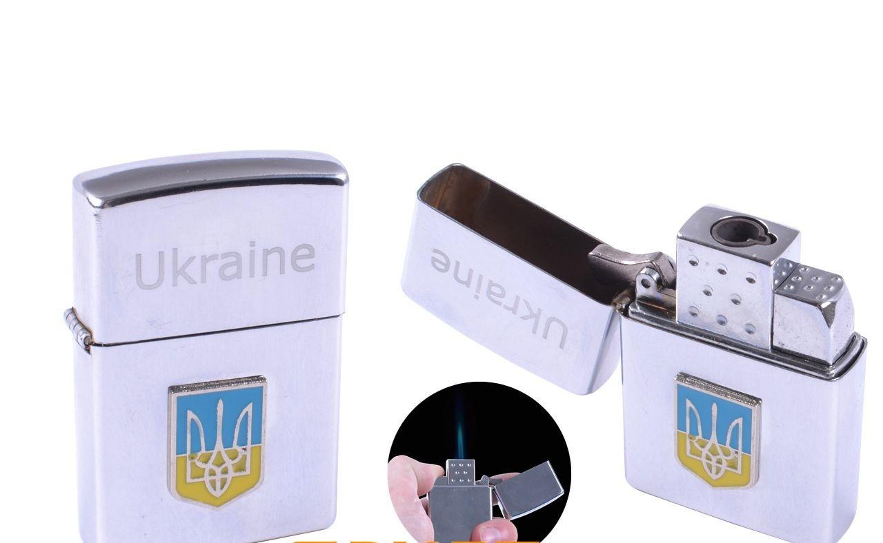 """Зажигалка карманная """"Герб Украины"""" (Острое пламя синего цвета)"""