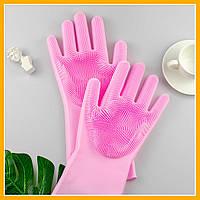 Силиконовые многофункциональные перчатки для мытья и чистки Magic Silicone Gloves magic brush с ворсом
