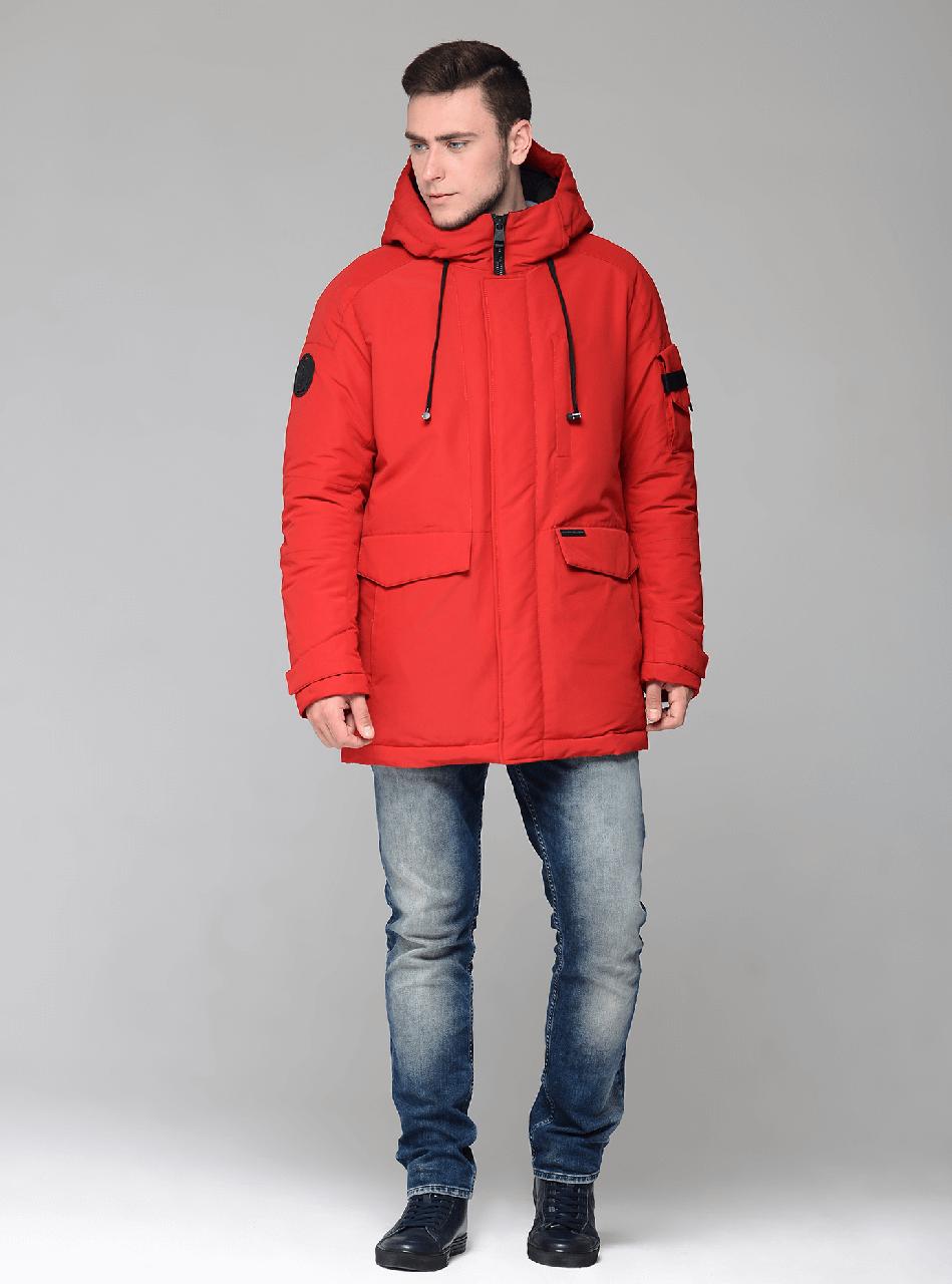 Мужской зимний пуховик CW17MD041СN Clasna на синтепухе - красный (#102), 50 размер
