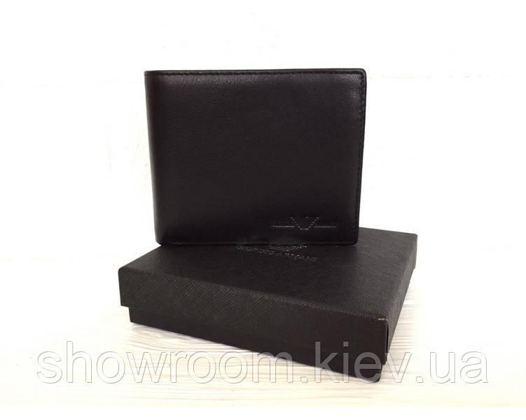 Мужское кожаное портмоне в стиле Giorgio Armani (10А-12) black
