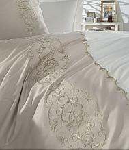 Комплект постільної білизни сатин люкс з вишивкою євро Dantela Vita Embroidered Elegance