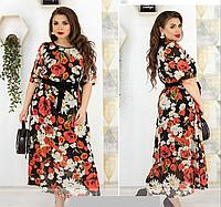Летнее яркое платье шифоновое, с 50-60 размер, фото 1