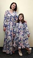 Комплект длинных шелковых платьев для мамы и дочки