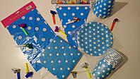 Набор праздничной  посуды и декора для оформления дня рождения (горох голубой)