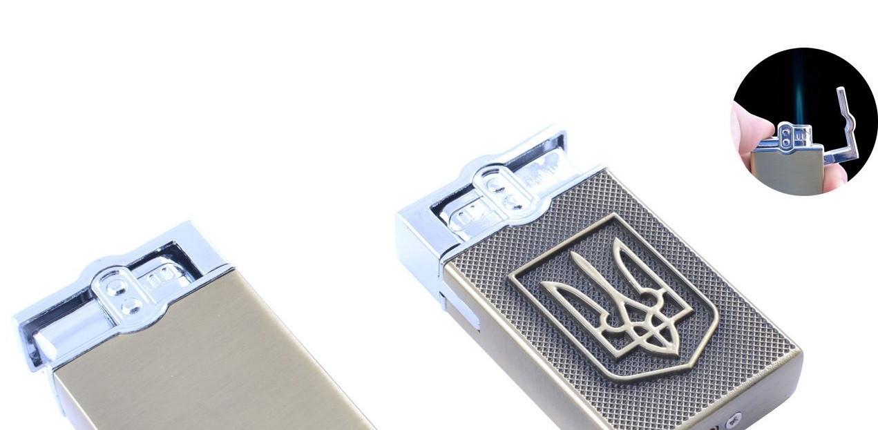 Зажигалка карманная Герб Украины (Острое пламя) №XT-4114