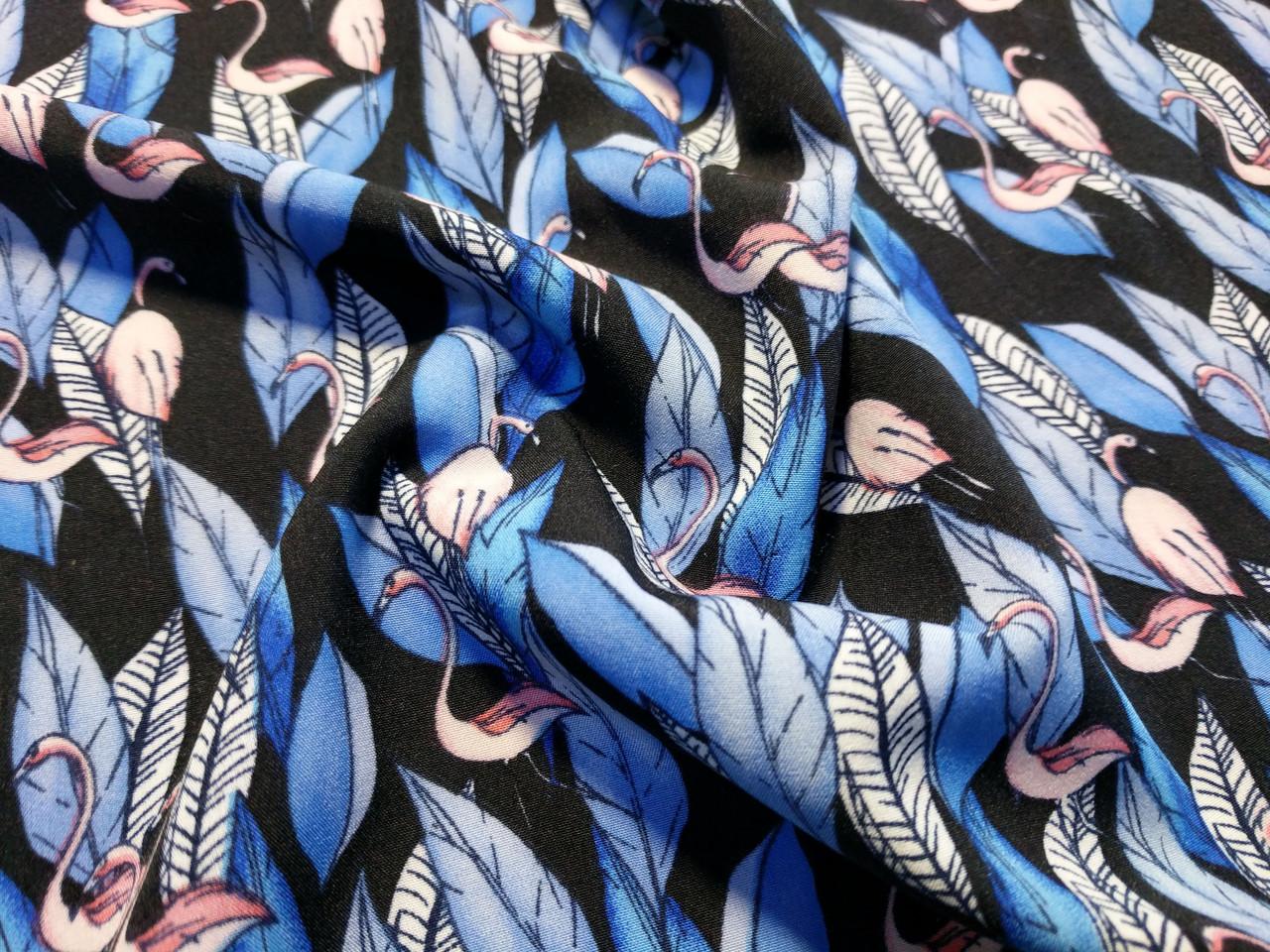 Французская вискоза софт фламинго, голубой - темно-синий