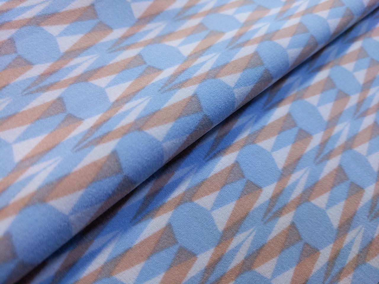 Французская вискоза софт геометрическая абстракция, голубой с бежевым