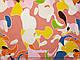 Французская вискоза софт яркая мозаика, коралловый, фото 2