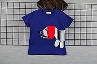 Футболка для мальчика детская, синяя с аппликацией, хлопок, размер 86- 92, 104-110
