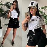 Женский стильный костюм: футболка и шорты с высокой посадкой (расцветки), фото 2