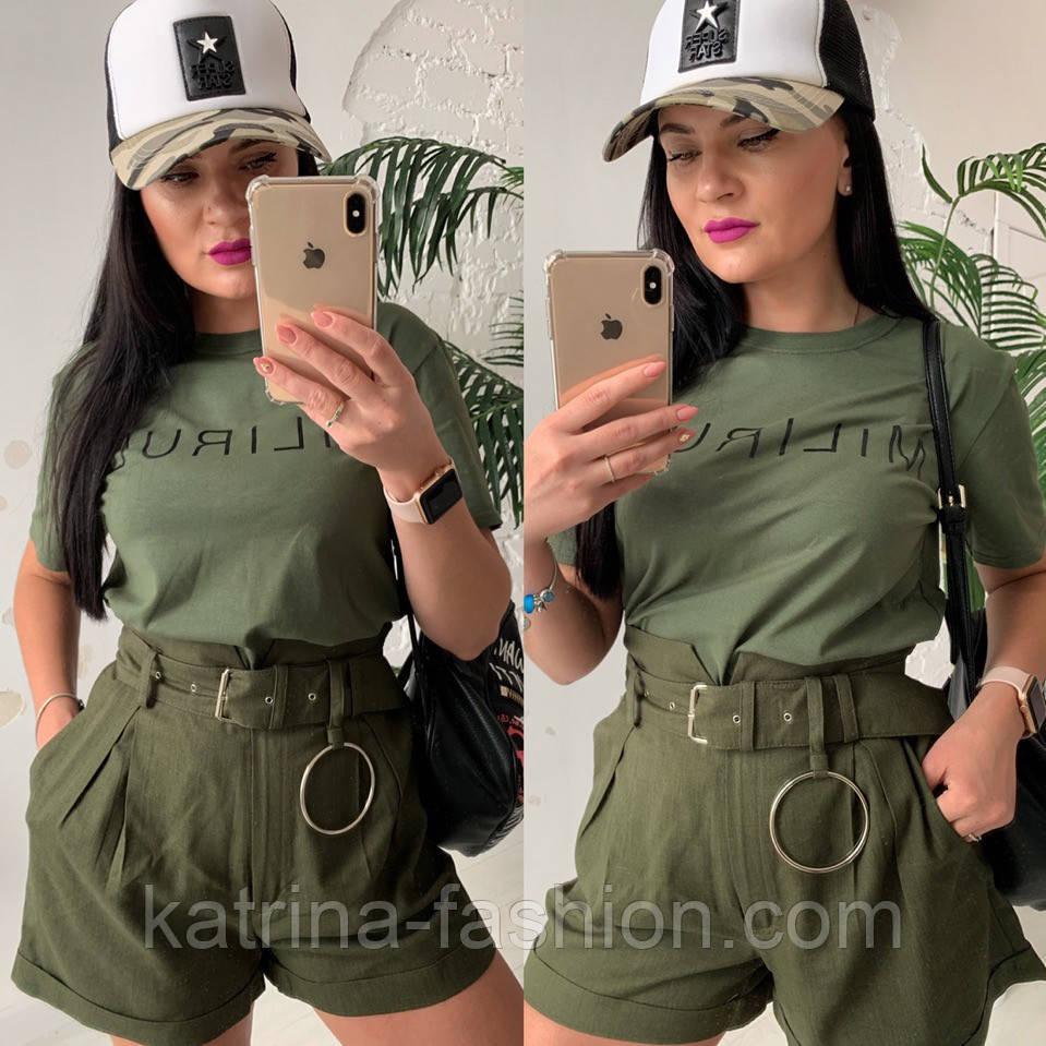 Женский стильный костюм: футболка и шорты с высокой посадкой (расцветки)