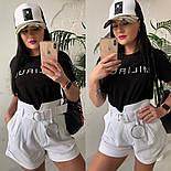 Женский стильный костюм: футболка и шорты с высокой посадкой (расцветки), фото 4