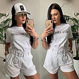Женский стильный костюм: футболка и шорты с высокой посадкой (расцветки), фото 9