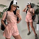 Женский стильный костюм: футболка и шорты с высокой посадкой (расцветки), фото 6