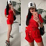 Женский стильный костюм: футболка и шорты с высокой посадкой (расцветки), фото 8