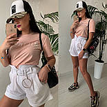 Женский стильный костюм: футболка и шорты с высокой посадкой (расцветки), фото 7
