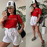 Женский стильный костюм: футболка и шорты с высокой посадкой (расцветки), фото 10