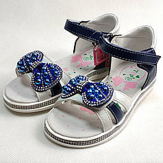 Детские босоножки сандалии сандали для девочки синий бантик y.top 28р