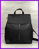 Женская молодежная городская сумка-рюкзак трансформер WeLassie Фаби черная, фото 1