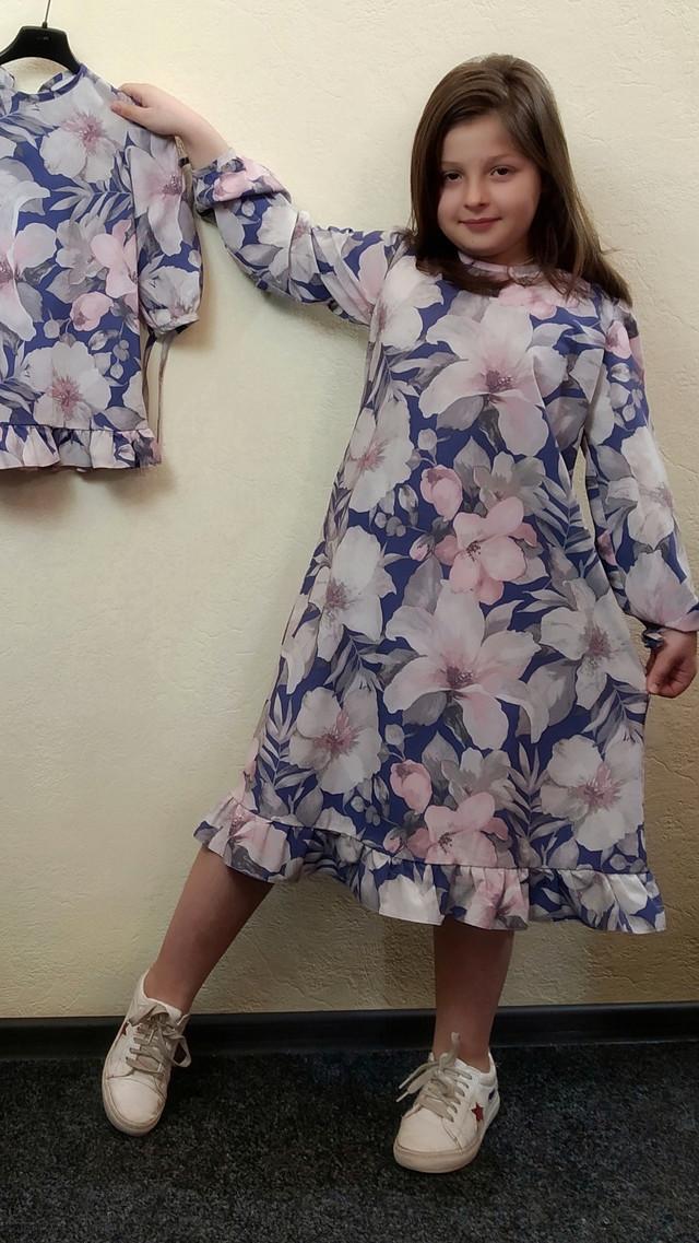Детское длинное платье трапеция из суперсофта