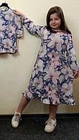 Детское длинное платье трапеция из суперсофта , фото 1