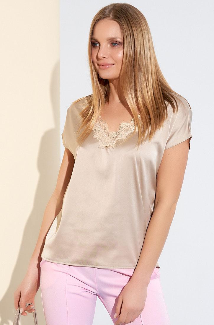 Шелковая блуза бежевого цвета. Модель 21085. Размеры 42-48