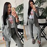 Женский стильный брючный костюм в клетку: пиджак и брюки (расцветки), фото 3