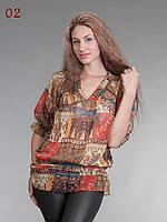 Блузка туника из шифона коричневая, фото 1